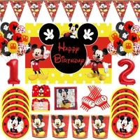 disney mickey mouse theme party disposable plates cups tablecloth boxes supplies newborn backdrop mickey birthday decor balloons