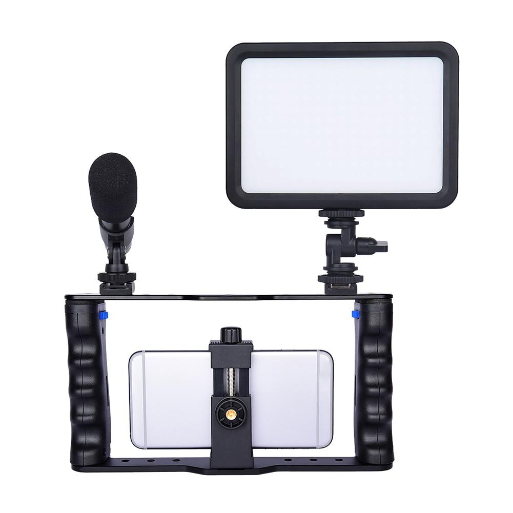 Suporte do Telefone Equipamento de Gravação Estabilizador para Iphone Inteligente Case Handheld Aperto Luz Microfone Estabilizador Conjunto Câmera Equipamentos Led