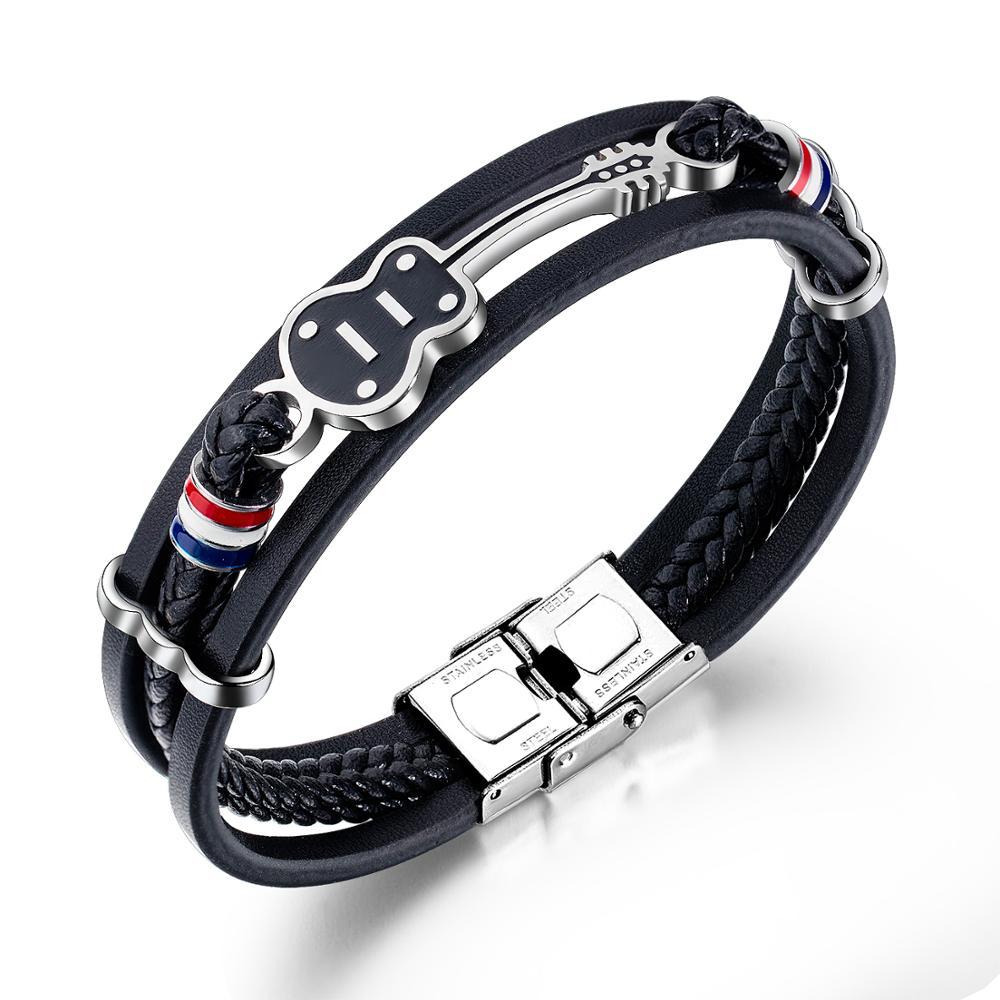Pulsera de cuero negro multicapa para hombre, pulsera clásica, brazalete de mano, regalo, Dropshipping