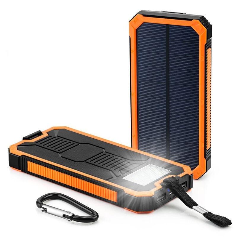 خازن الطاقة الشمسية 20000mAh لايفون 11 شاومي Powerbank مع التخييم مصباح شاحن الهاتف المحمول المزدوج منافذ USB الخارجية CD25