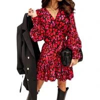 long lantern sleeve print wrap dress women elegant ruffles v neck red party dresses autumn female a line office vestidos