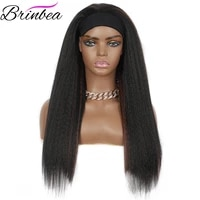 brinbea 24 inches synthetic long yaki straight hair with headband for black women heat restant fiber daily wig
