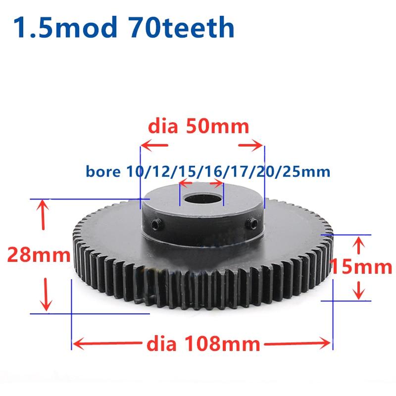 Temch espolón engranaje piñón 1,5 M 70T 70 dientes Mod 1,5 ancho 15mm diámetro 10-25mm dientes derecho engranaje principal cnc engranaje de transmisión