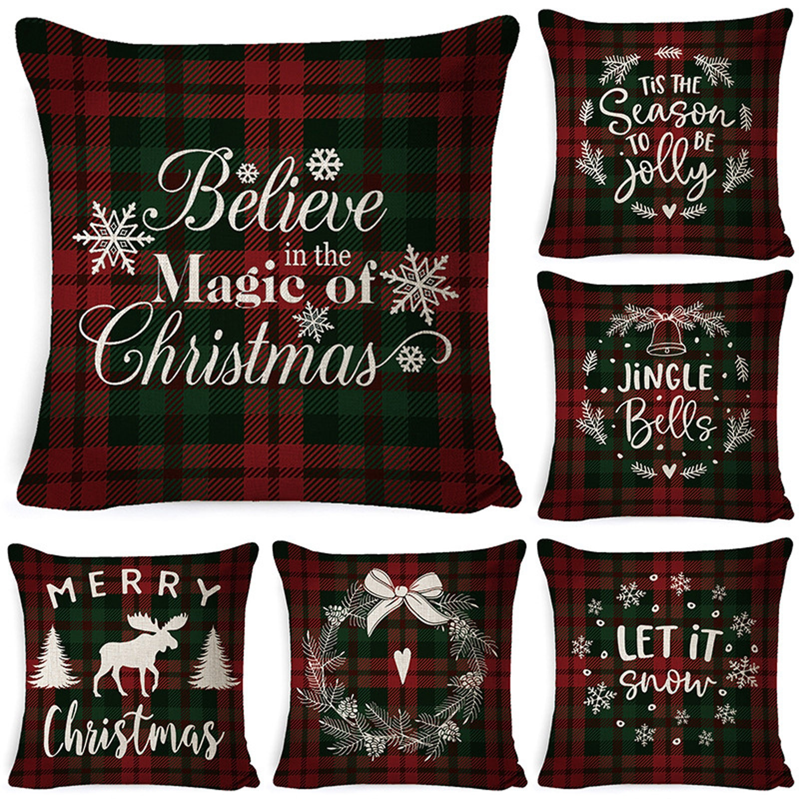 Christmas Plaid Pattern Cushion Covers Decorative Pillows bed Cotton Line nFlower Printed Throw Pill