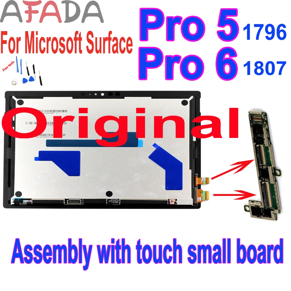 Original Lcd For Microsoft Surface Pro 5 1796  Pro 6 1807 LCD Display Touch Digitizer Assembly for pro5 pro6 + Touch Small board