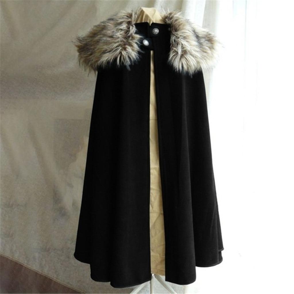 Jogo dos tronos casaco masculino medieval inverno viking capa casaco ranger estilo gótico estilo gola de pele capa jon neve 2020
