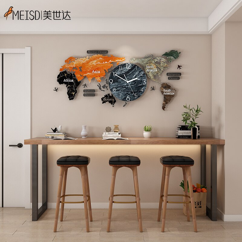 MEISD Punch-free DIY Mirror Sticker Large World Map Wall Clock Quartz Silent Watch Oversized Self Adhesive Horloge Free Shipping
