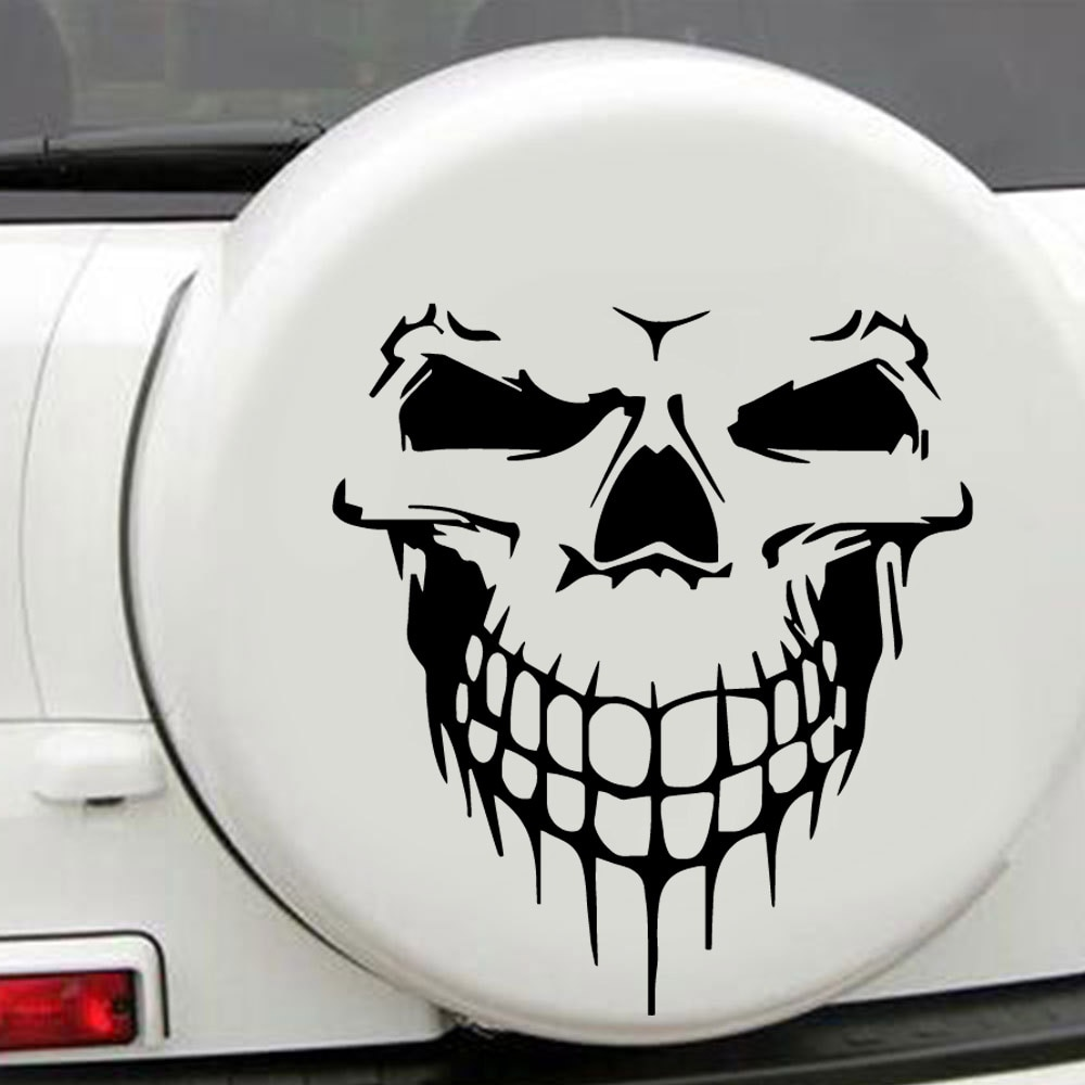 Creative Scary skeleton Stickers On The Car For Truck Window Bumper Auto Suv Door Laptop Kayak Vinyl Decal hotmeini 2x long spear totem art of ancient weapons striped car sticker for motorhome suv truck kayak canoe vinyl decal 9 colors
