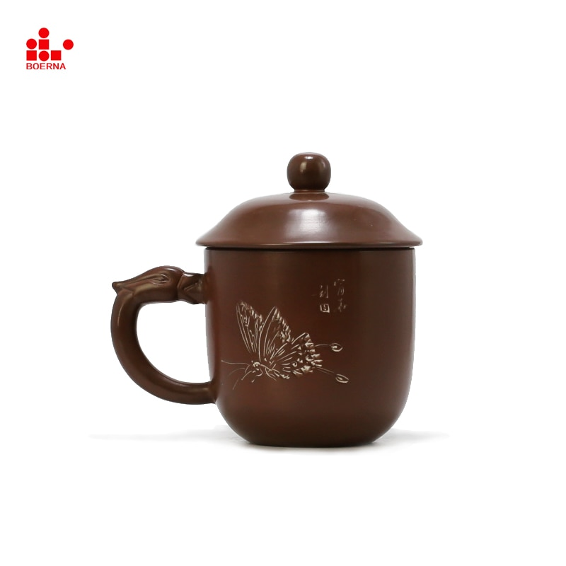 BOERNA China Nixing vaso Fénix personalizado tallado taza de té hecho a mano de arcilla Nixing té Gongfu tazas de té taza 300ml caneca tazas