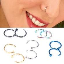 1 шт., хит, поддельные ювелирные изделия для тела, пирсинг, шпилька, тонкий простой маленький обруч, титановая сталь, сексуальное хирургическое стальное кольцо с открытым носом