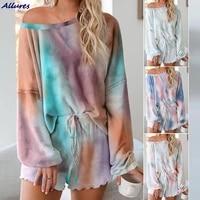 long sleeved tie dye shorts pajamas female round neck leisurewear casual comfortable womens pajamas set sleepwear household