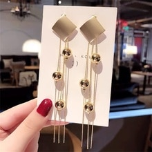 Trendy Metall Geometrische Quaste Frauen Baumeln Ohrringe Lange Fransen Ohrringe Für Frauen Tropfen Ohrringe Goldene ball Ohrringe