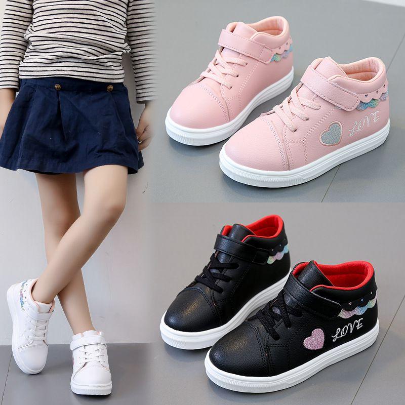 Niños zapatillas Niño suela suave zapatos para caminar suela suave zapatos de bebé niñas casuales antideslizantes letras y corazones impresión Shoess Drop