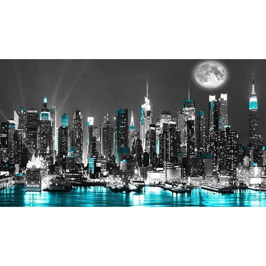 Grande 5D pintura diamante new york NOCHE NEGRA paisaje de ciudad decoración taladro completo diamand artesanía bordada Kits de arte