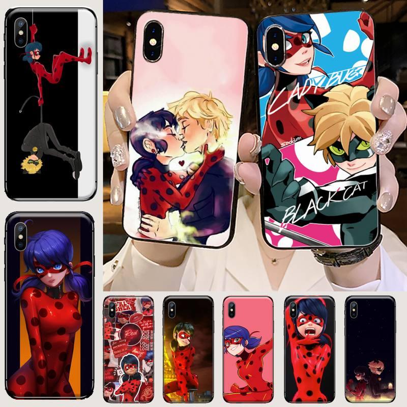 Nette mädchen marienkäfer Telefon Fall für iPhone 11 12 mini pro XS MAX 8 7 6 6S Plus X 5S SE 2020 XR
