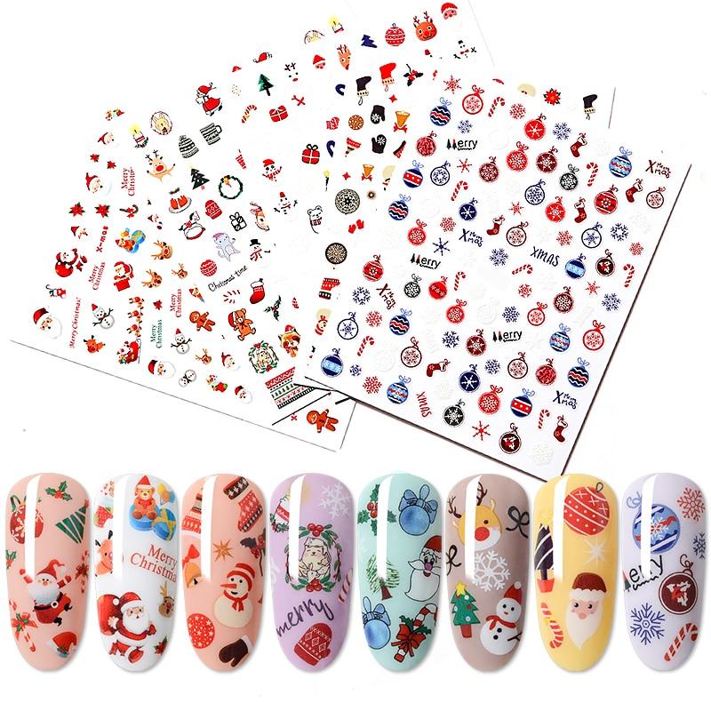 Water Nail Stickers Nail Decal Santa Claus Christmas tree sock 3D Glue Adhesive Slider for Nails Manicure Nail Art Watermark Tip