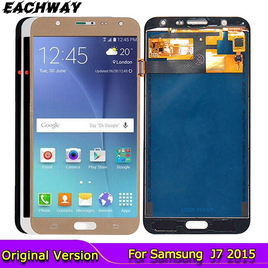 J700f lcd para Samsung Galaxy J7 2015 pantalla LCD J700 J700F pantalla táctil digitalizador botón de inicio reemplazos J700M pantalla