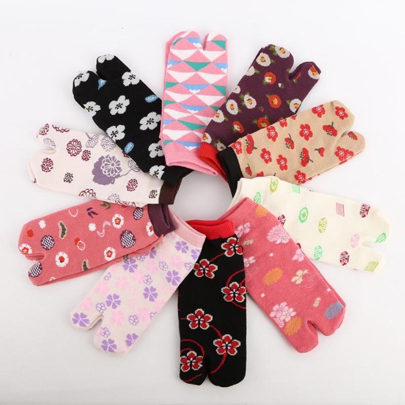 Хлопковые носки с двумя пальцами с цветочным принтом, парные носки с разрезом, японские носки с двумя пальцами, носки tabi