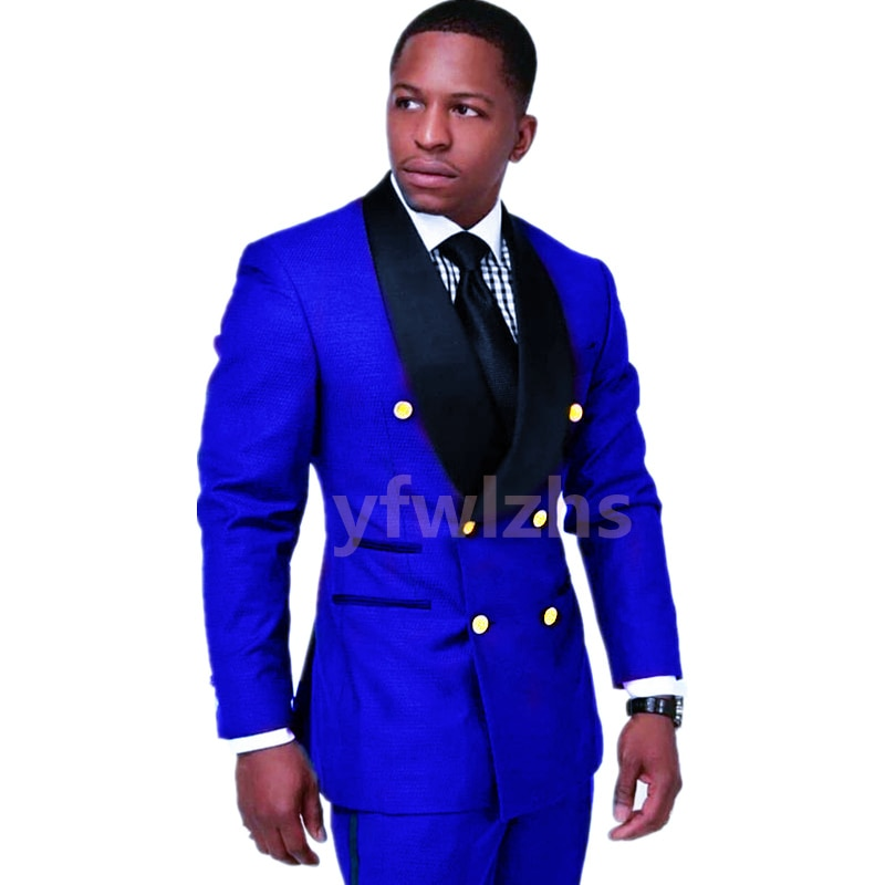 New Arrival Double-Breasted Groomsmen Shawl Lapel Groom Tuxedos Men Suits Wedding/Prom Best Blazer ( Jacket+Pants+Tie) D09