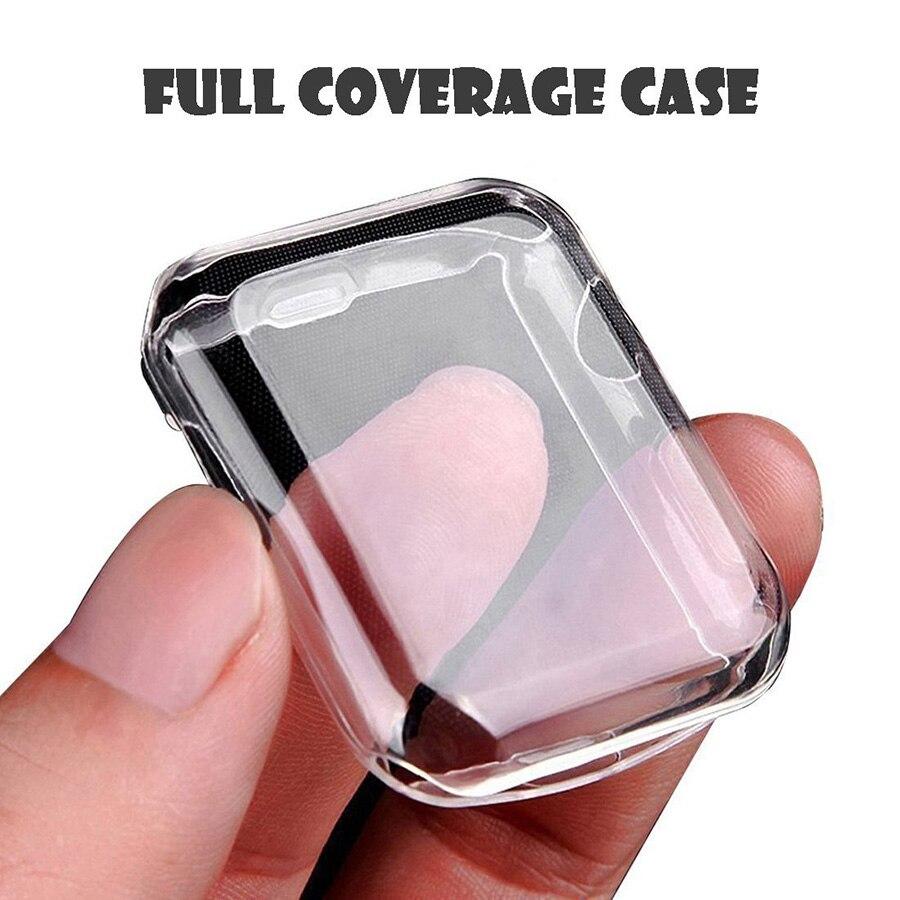 All-around capa clara para apple assistir série 2 3 4 360 tpu macio completo protetor de tela caso para apple watch 38mm 40mm 44mm 42mm