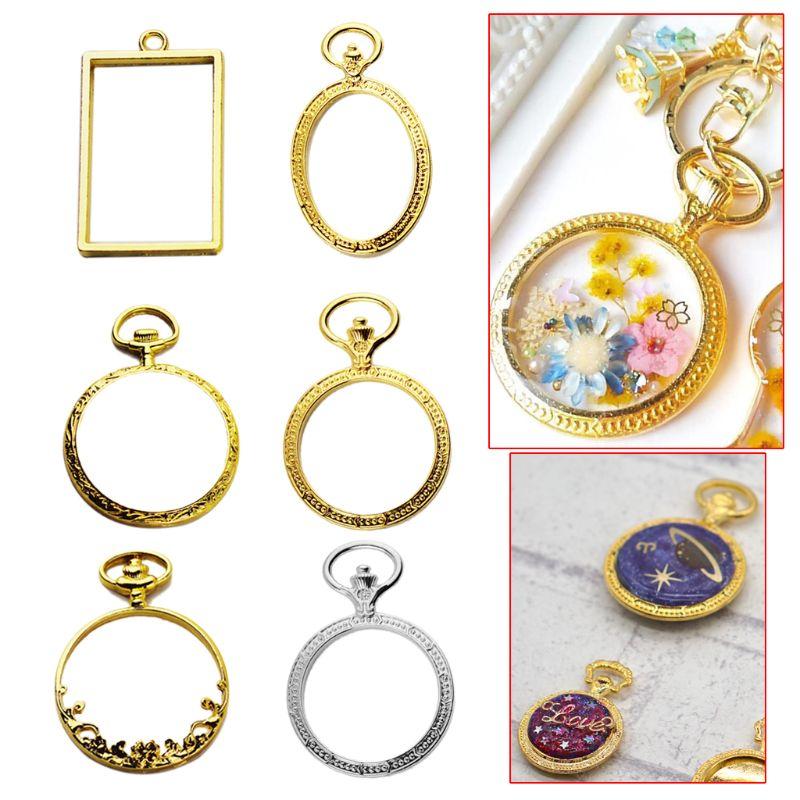 DIY  6pcs/set Metal Frame Pocket Watch Charm Pendant Bezel Setting UV Resin Charm Necklace Earring Findings Casting Craft DIY