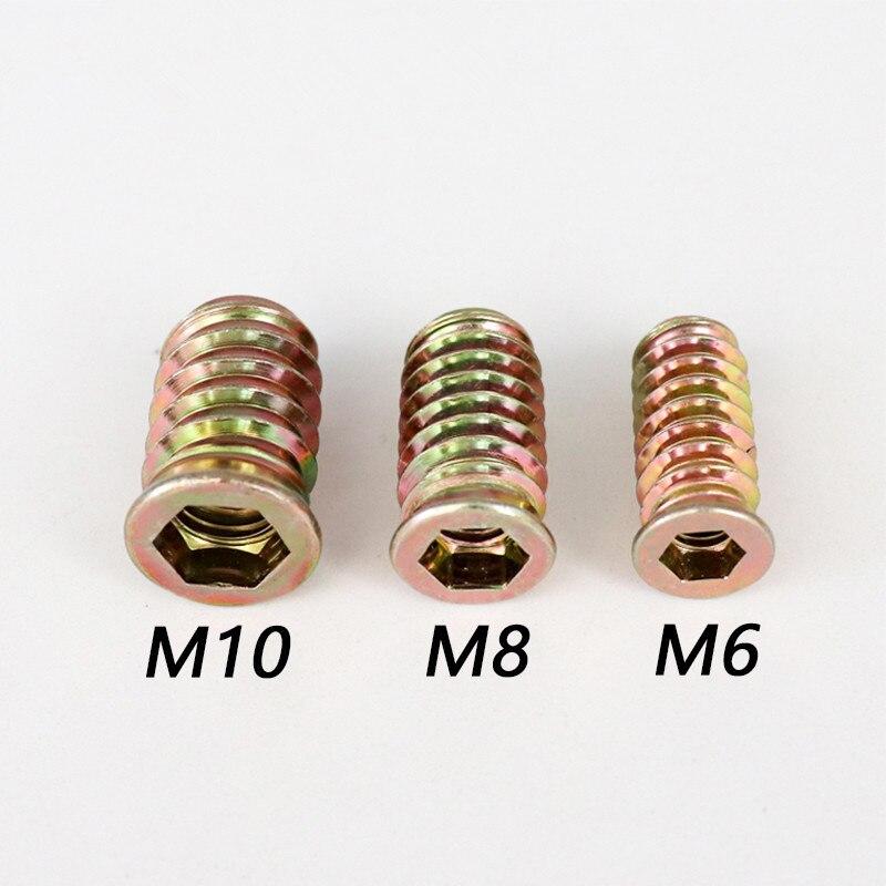 20 piezas de muebles de tuerca de inserción de M6 M8 M10 de acero al carbono rosca métrica hexagonal E-tuerca para cama de madera sofá sujetadores de tornillo