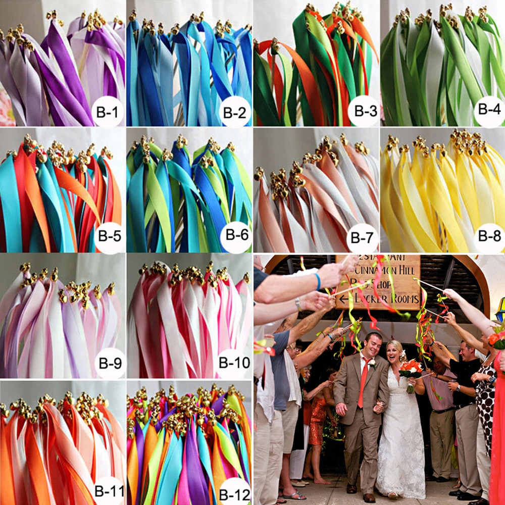 aliexpress.com - 50/20pcs Colorful Stain Ribbon Wedding Stick Mixed Color Wedding Wands With Gold Bells for Wedding Decoration