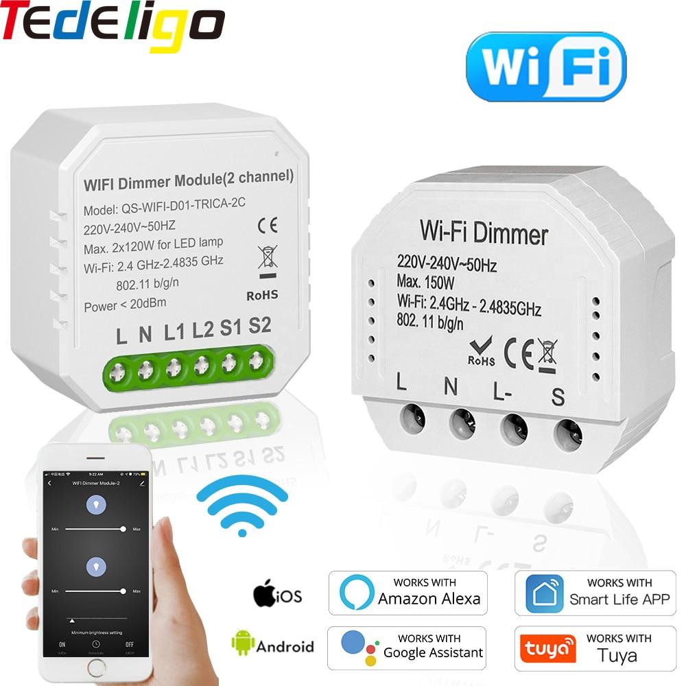 Tuya الحياة الذكية واي فاي باهتة مفتاح الإضاءة 1/2 عصابة 220 فولت LED قواطع وحدة لاسلكية صوت التحكم عن بعد الموقت جوجل المنزل اليكسا