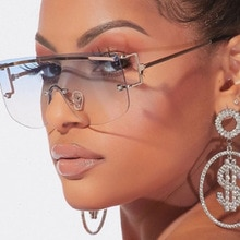 Vintage Oversized Square Rimless Sunglasses Women Men Classic Luxury Brand Flat Top Gradient One Pie