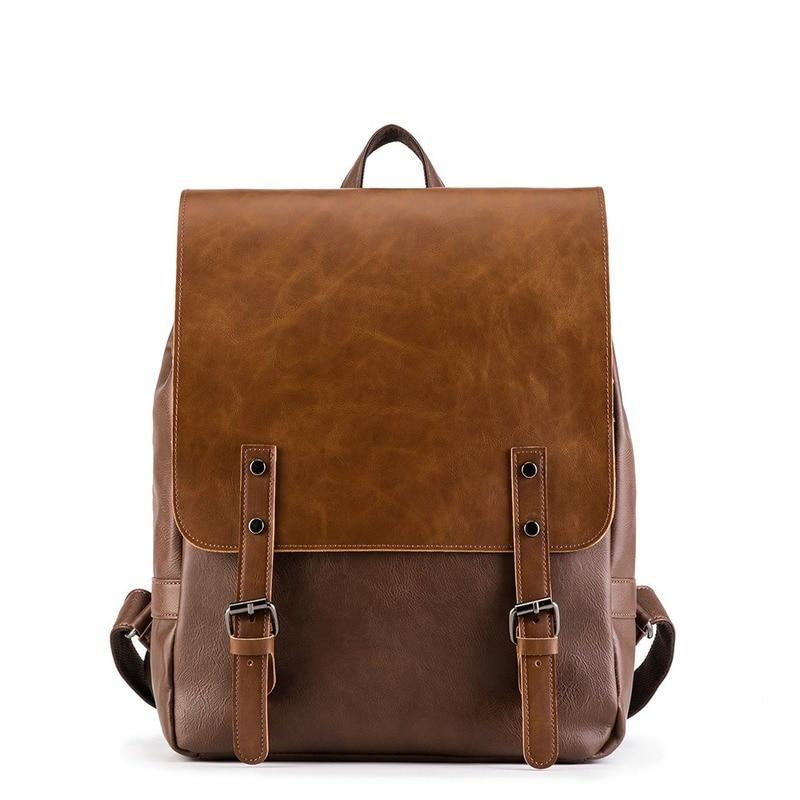 Модные рюкзаки, мужской водонепроницаемый дорожный рюкзак, винтажный кожаный большой рюкзак для ноутбука, мужские сумки для книг, деловые р...