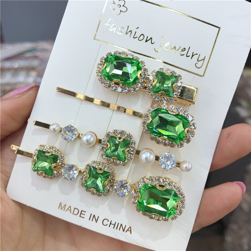 1/4Pcs Pearl Barrettes For Women Girl Vintage Chic Green Crystal Hair Clips Geometric Rhinestone Hairpin Hair Accessories vintage faux crystal geometric bracelet for women