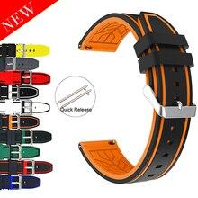 Cinturino sportivo in Silicone morbido 20mm 22mm 24mm 26mm gomma subacquea impermeabile da uomo cinturino di ricambio cinturino accessori per orologi