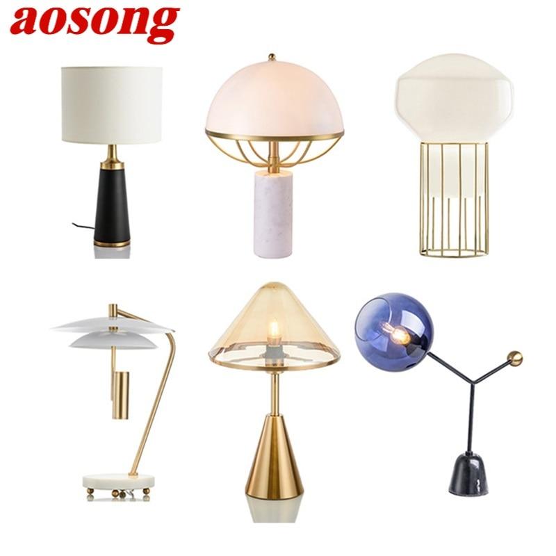 AOSONG-مصباح طاولة سيراميك ، تصميم حديث ، لمبة E27 ، مصباح مكتب ، ديكور منزلي ، بهو ، غرفة معيشة ، فندق
