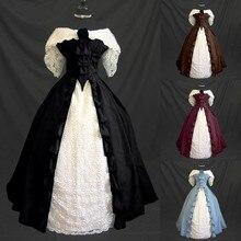Femmes médiévale cour rétro sans manches taille ajustée dentelle Patchwork Maxi robe femmes 2020 Vintage Slash cou robe de bal robe de soirée