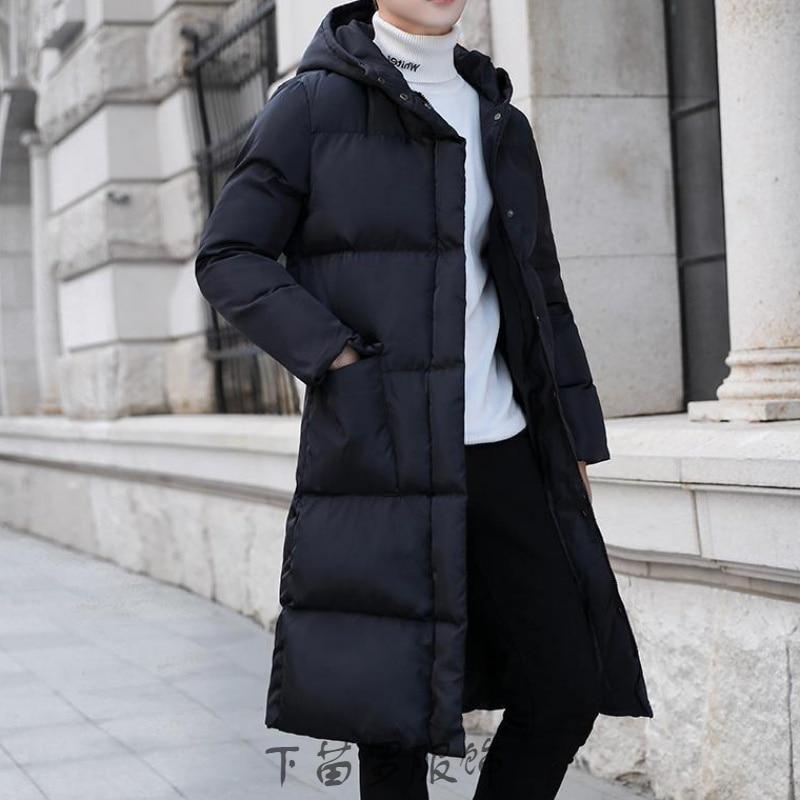 Long down jacket men's luxury brand coat men's winter solid color black coat plus size 4XL thick coat men's slim coat