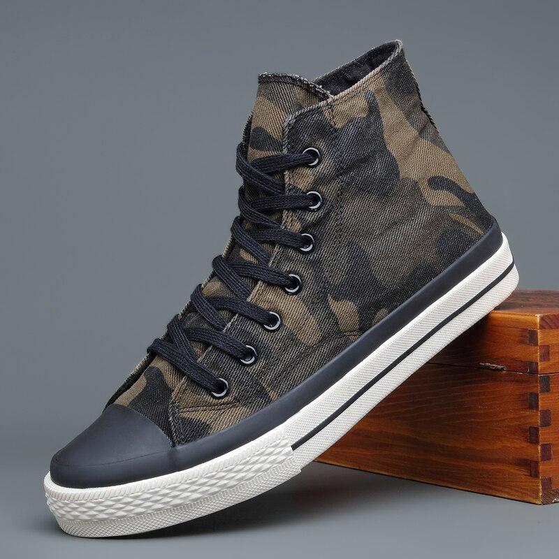 Brand New Hight-Top قماش الكتابة على الجدران أحذية الرجال تنفس التمويه أحذية رياضية الكورية موضة مسطحة القاع حذاء كاجوال أخضر رمادي