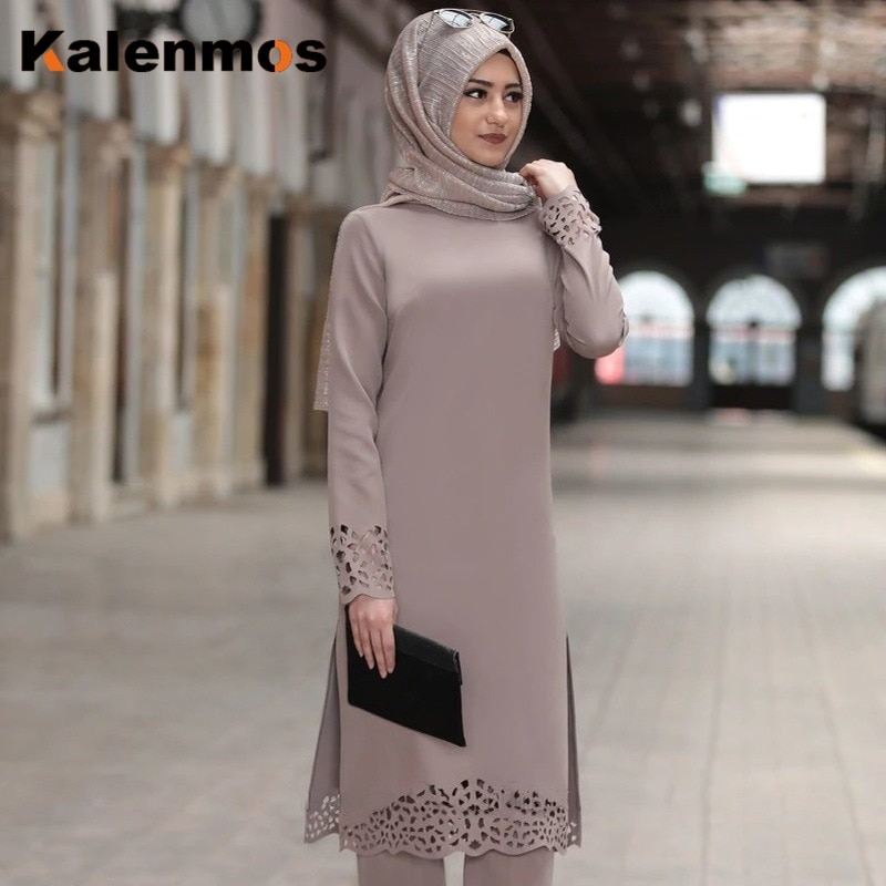 Turkey Muslim Dress Women Long Tops Hollow Solid Islamic Ropa Hijab Dresses Moroccan Kaftan Jilbab Party Vestidos Abaya Ramadan
