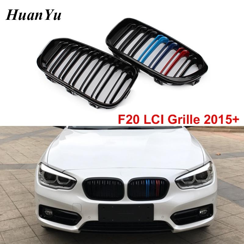 Grade de substituição para carro, 1 par de substituição para bmw 1 série f20 lci facelift abs m grelha 118i 120i 2015-2018