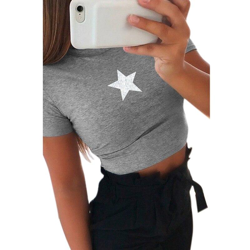 Vicabo Star Top corto estampado para mujer Sexy camisetas Tops señoras Skinny camiseta mujeres impresas Tops de manga corta verano 2020