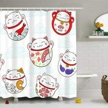 Cortina de ducha Lucky Smile Cat Series con ganchos, cortina de baño de poliéster resistente al agua 3D, 1 pieza 180x180cm