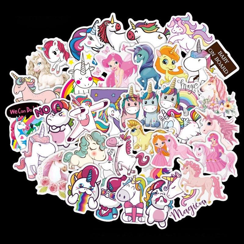 1 Juego de Pegatinas de unicornio, bonitas Pegatinas de dibujos animados de animales, grafiti a prueba de agua para niños en álbum de recortes, Maleta, equipaje, guitarra