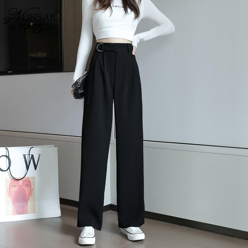 Autumn 2020 Korean Style New Fashion Loose High Waist Wide Leg Pants Casual Slimming Versatile Dragg
