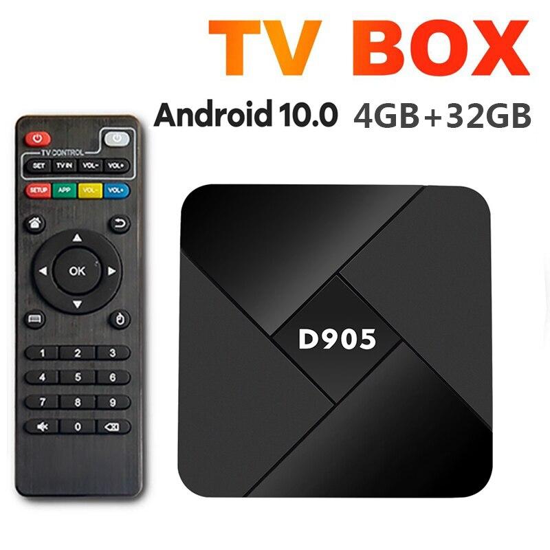 D905 Smart TV Box Android 10.0 TV Box Wifi 2.4G 4K 4GB 32GB Amlogic S905 Youtube Media Player Very F