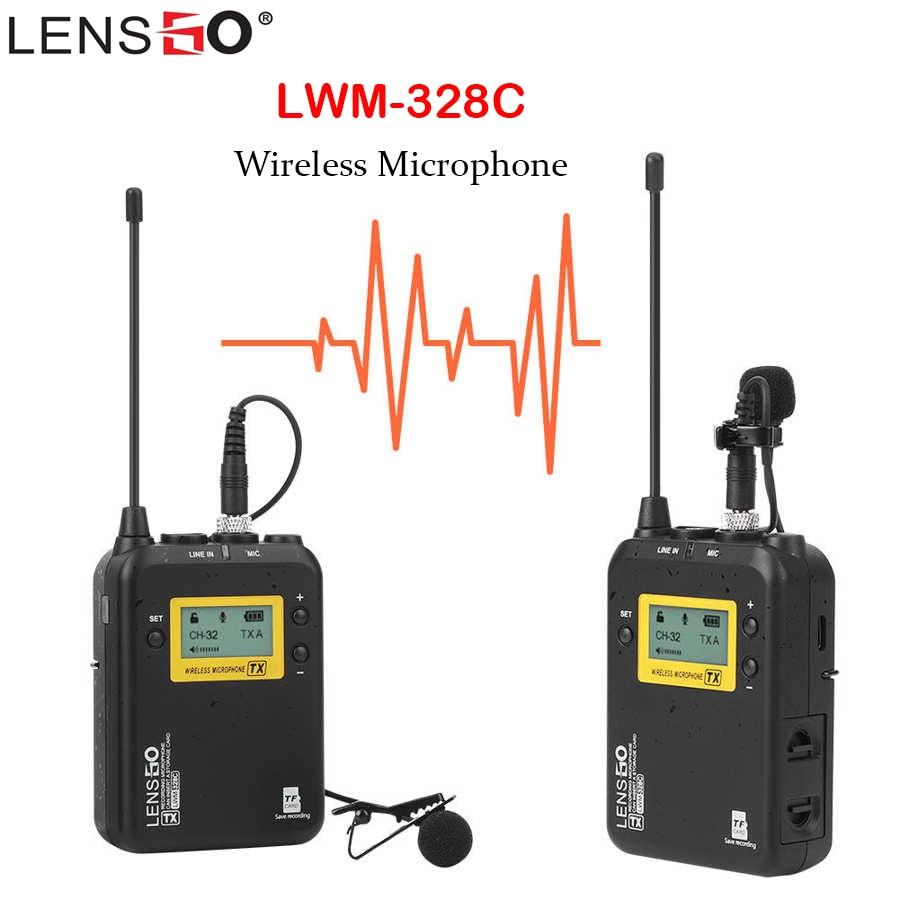 LENSGO LWM-328C ميكروفون لاسلكي التلبيب Lavalier مكثف ميكروفون ميكروفون للهواتف الذكية كاميرات DSLR تسجيل المقابلة