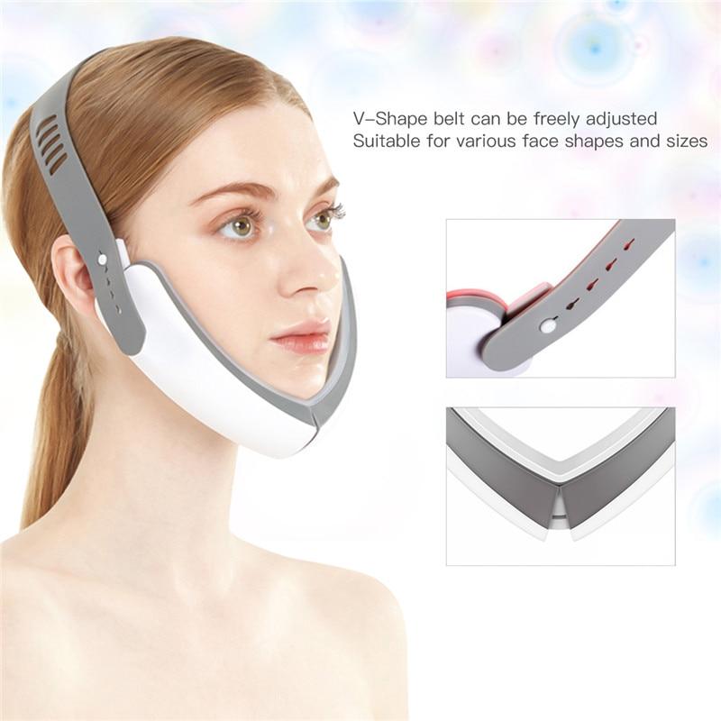 مدلك الوجه الكهربائي على شكل V ، العلاج بالفوتون LED ، التخسيس ، الاهتزاز ، شد الجلد ، مضاد للتجاعيد ، الجمال