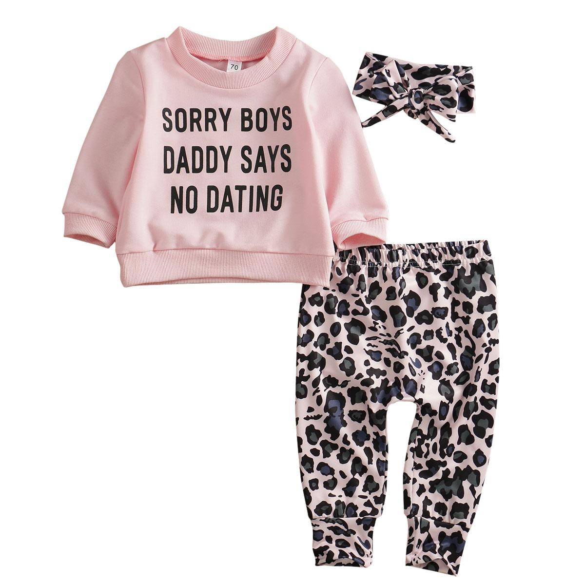 Bebê recém-nascido da menina leopardo impressão moletom hoodies tops calças leggings bandana roupa 3 pçs outono quente 0-2year