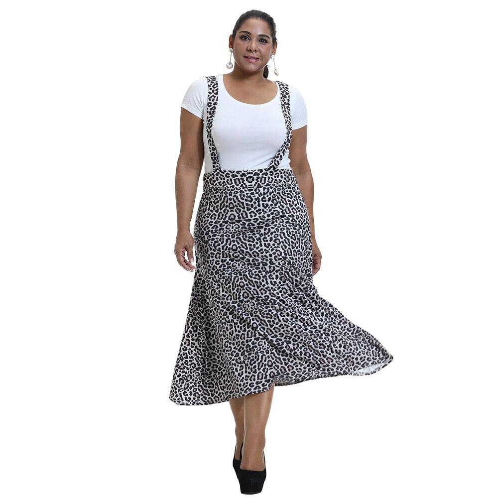 leopard print lace trim plus size tee Sale Leopard Print Suspender Skirt Large Size Strap Adjustable Fashion Skirts Plus Size Bottoms plus size women clothing