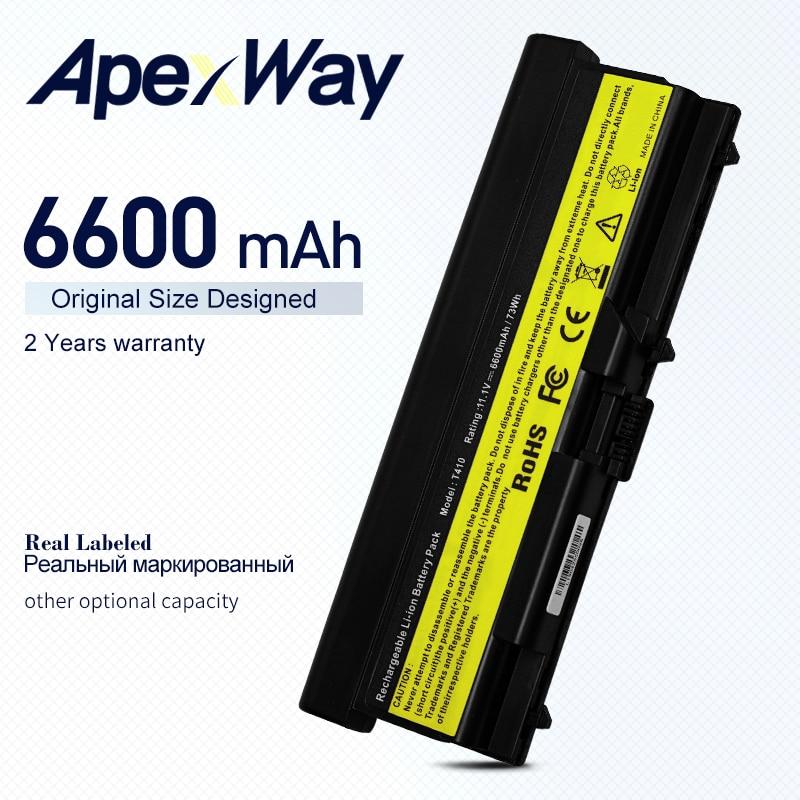 ApexWay 6600mAh بطارية لينوفو ثينك باد إيدج E40 E50 L410 L412 L420 L421 L510 L512 L520 SL410 SL510 T410 T420 T510 T520 W510