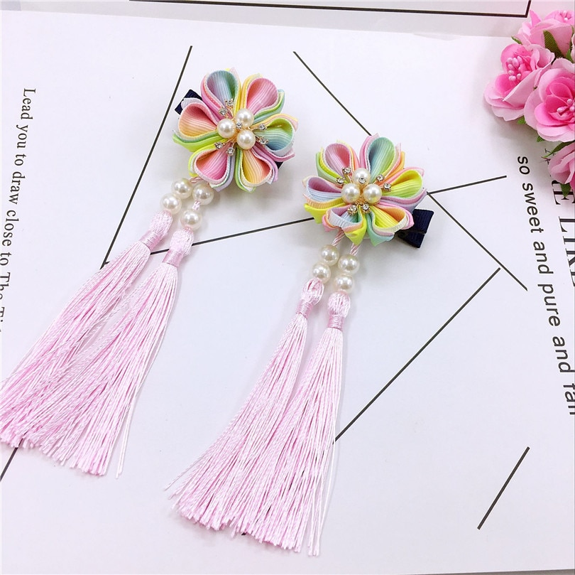 Hair Clips Hair Kanzashi Ornament For Kids Handmade Kimono Yukata Outfit for Geisha Shichi-go-san Festival Gift Colorful  HW059
