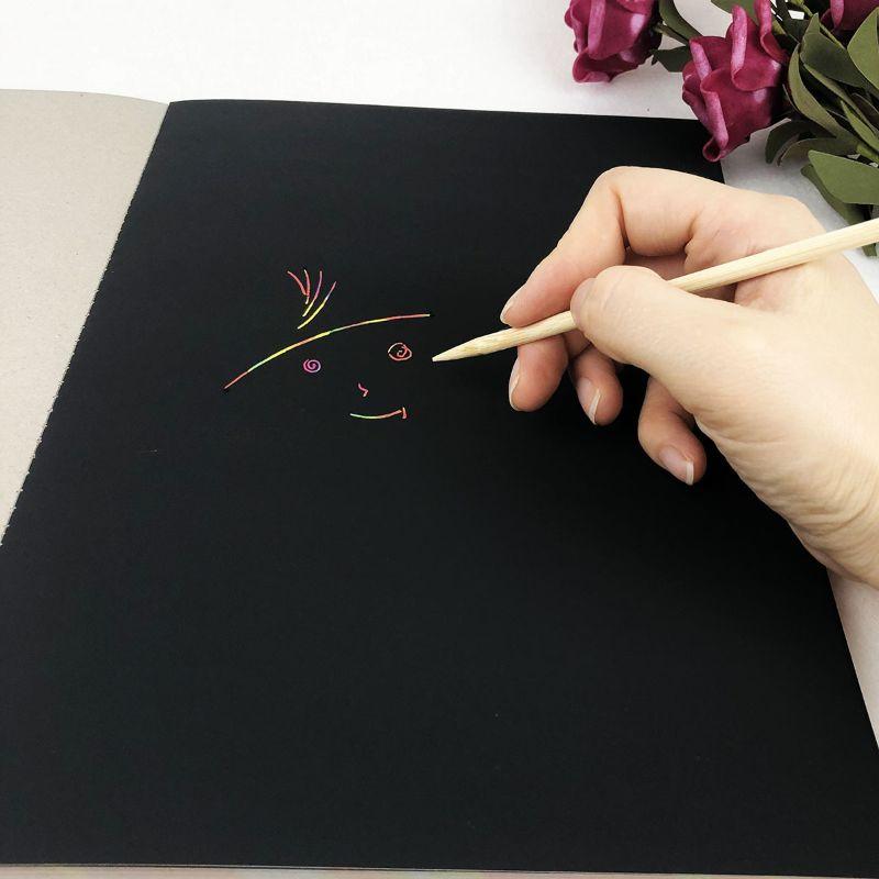 50 feuilles livre à gratter arc-en-ciel peinture croquis tampons bricolage Art artisanat griffoir XXFE